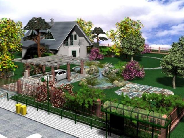 Довольно грамотная схема расположения дома на участке относительно дороги.