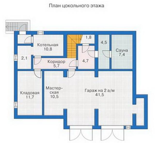 """Все подсобные помещения можно """"спрятать"""" в цокольный этаж."""