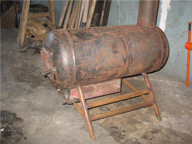 Печка - буржуйка с газового баллона на дровах своими руками - чертежи и устройство 2