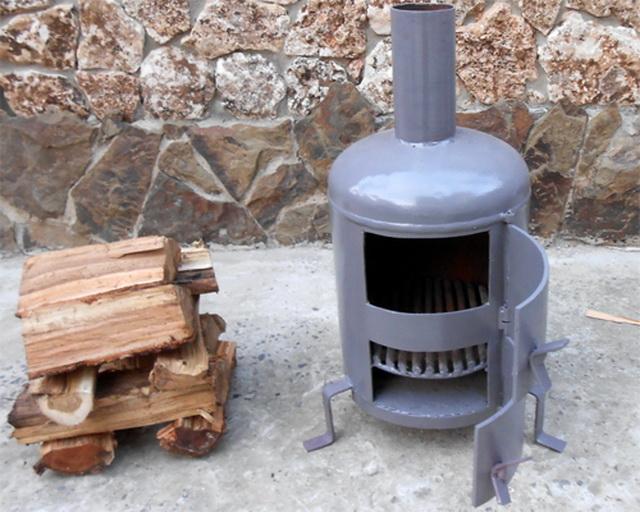 Печка - буржуйка с газового баллона на дровах своими руками - чертежи и устройство 3