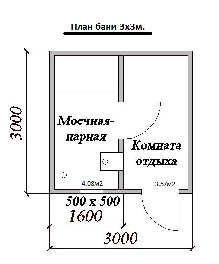 баня 3 на 3 планировка внутри фото 3
