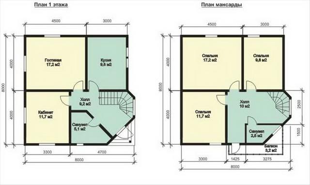Разумная планировка дома 8 на 8 с мансардой 2