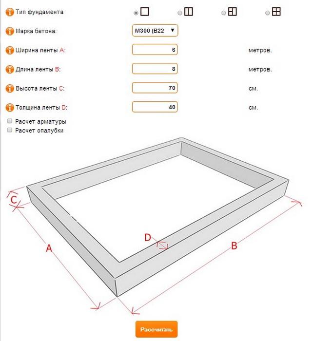 Калькулятор ленточного фундамента - быстро считаем ленточный фундамент для забора и под откатные ворота 5
