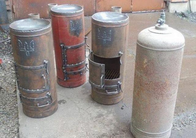 Печка - буржуйка с газового баллона на дровах своими руками - чертежи и устройство 1