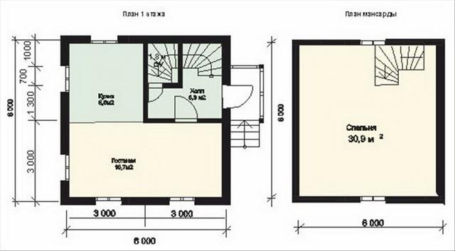 Интересная планировка дома 6 на 6 с мансардой 2