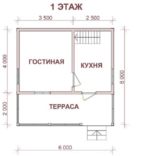 Интересная планировка дома 6 на 6 с мансардой 4