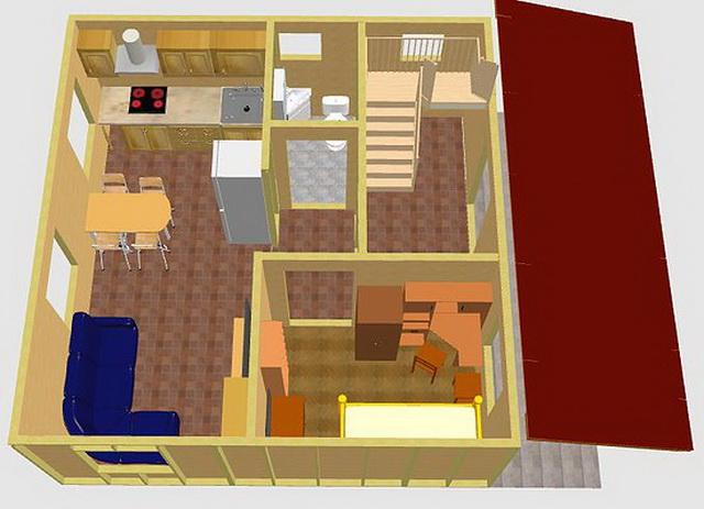 Интересная планировка дома 6 на 6 с мансардой 5