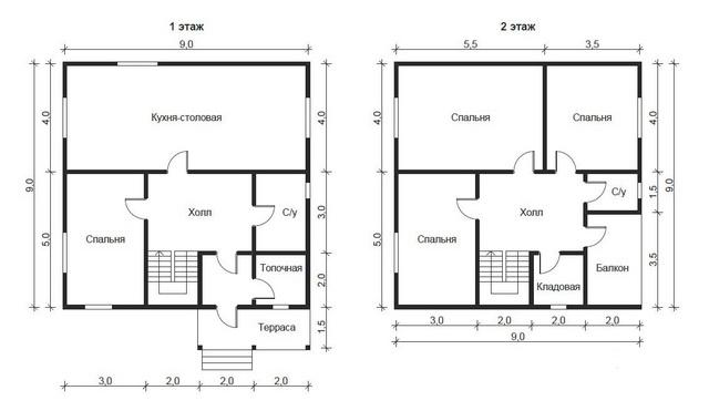 Эффективная планировка дома 9 на 9 с мансардой 3